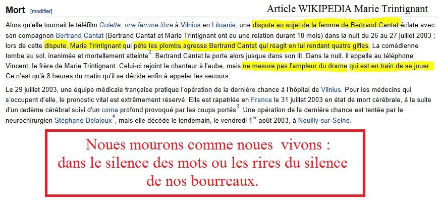 wikipédia à propos de Marie Trintignant